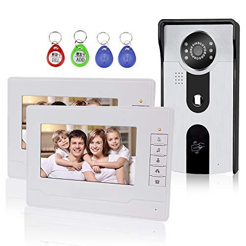 KDL 7 pulgadas Sistema de Intercomunicación Video del Teléfono de la puerta del timbre con Audio bidireccional/IR visión nocturna/Color HD Monitor de cámara para seguridad en el hogar (2 Monitor)