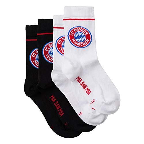 FC Bayern München Kids Sportsocken Socken 2er Pack (23-26, schwarz/weiß)