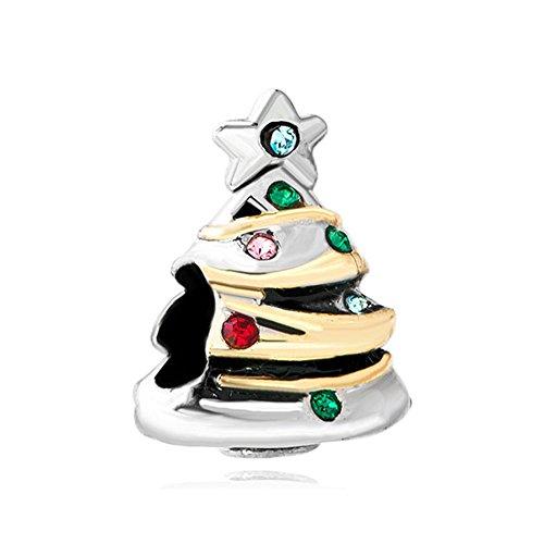 Sug Jasmin Christmas Tree Charms Beads for Bracelets Gifts