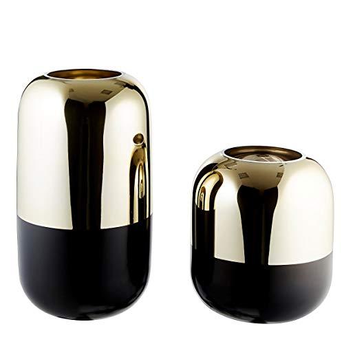 Pureday Dekovasen Style - Vasen 2er Set - Blumenvase - Glas - Gold Schwarz