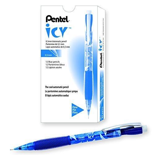 Pentel Icy Automatic Pencil, 0.50 mm, Transparent Blue Barrel, Box of 12 (AL25TC)