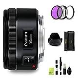 GYTE BUNDLE | Objetivo Canon - EF 50 mm f/1.8 STM - Lente Prime para Cámara Reflex Digital + Kit de Filtro de 3 Piezas + Juego de Limpieza | Paquete de Accesorios Premium