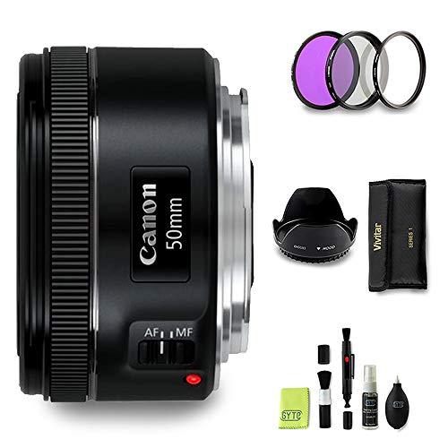 GYTE Bundle | Canon Objektiv - EF 50mm 1:1,8 STM - Festbrennweite Objektiv für Canon Spiegelreflexkamera + 3-teiliges Filterkit + Streulichtblende + Reinigungsset | Premium Zubehör Bundle