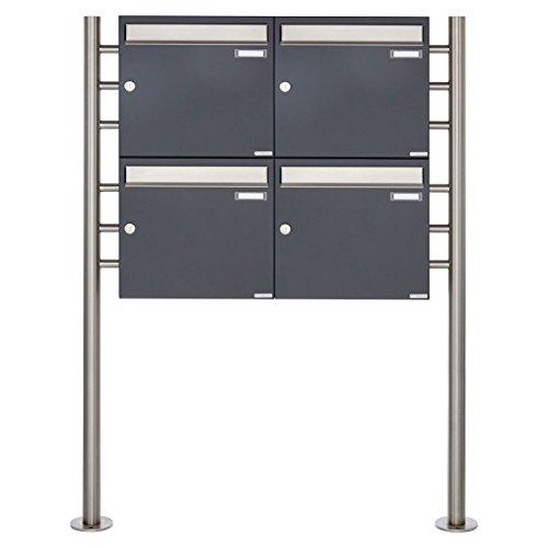 4er Standbriefkasten - 4 fach Briefkastenanlage Design BASIC 381 - Briefkasten Manufaktur Lippe (4 Parteien, Edelstahl/RAL 7016 anthrazitgrau feinstruktur matt)