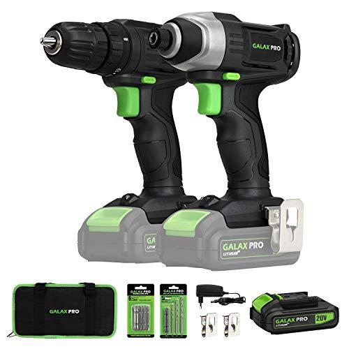 Akkuschrauber 20V, GALAX PRO Akku-Bohrschrauber/Schlagschrauber mit 1 Lithium-Ionen-Batterie (1,3 Ah), Schnellladegerät, mit 11 Zubehör, LED-Lampe und Gürtelschnalle,Werkzeugtasche, Bohrmaschinensets