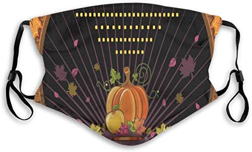 Moda cómoda a prueba de viento, chica de dibujos animados místicos con sombrero de fruta y hoja de otoño en marco de madera, decoraciones faciales impresas para unisex M-M