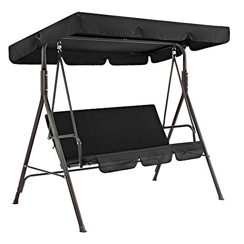 vap26 2 pz/set Patio Swing Canopy Copertura Set, Impermeabile Sunproof Canopy Patio Swing Top Cover+Seat Cover Per 3 Posti Solido
