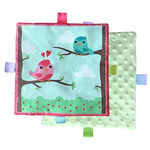 G-Tree sécurité verte Tag Couverture pour bébés - enfants en bas âge Étiquette Couverture Build-BB et Ringing papier, Comfort Taggy Couverture Toy Grand cadeau pour bébé, enfant en bas âge(oiseaux)