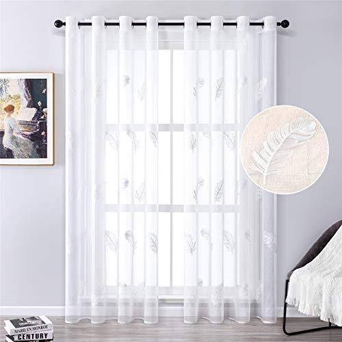 MRTREES Gardine aus Voile Vorhang Blumen Vorhänge mit Ösen Gardinenschals in Leinenoptik Gardinen kurz Stickerei Weiß 225×140cm (H × B) für Wohnzimmer Schlafzimmer Kinderzimmer 2er-Set