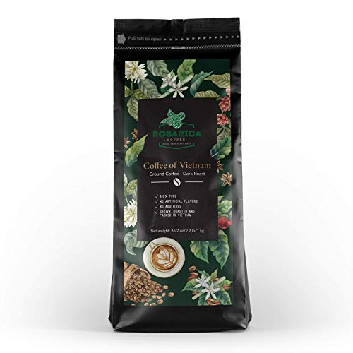 Vietnamese Coffee Ground Dark Roast for Hot or Iced Coffee with Sweetened Condensed Milk — This Strong Coffee is Ideal as Vietnamese Coffee Drip or Espresso Coffee Ground — 35.2 oz/1 kg