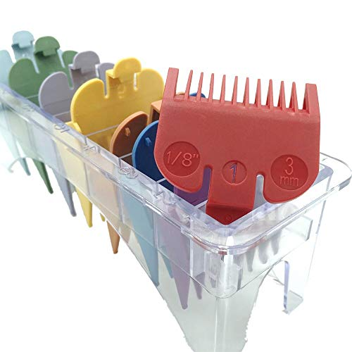 "Professional Hair Clipper Guards Guides 8 Color Coded Cutting Guides #3170-400- 1/8"" to 1 fits for all Wahl Clippers(Multi Color)…"