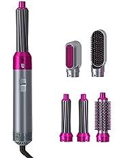Gazaar Hårtork Styler borste, negativ jon hårfön hårtork Styler 5-i-1 varmluftsborste set ett steg negativ lon roterande locktång och plattång, multifunktionssalong och volymfrisör styling