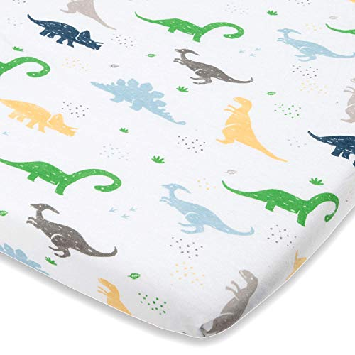 """Travel Lite Crib Sheet Compatible with Graco Travel Lite Crib with Stages – Fits Perfectly on 20"""" x 30"""" Mattress Without Bunching Up – Snuggly Soft Jersey Cotton –Dinosaur"""