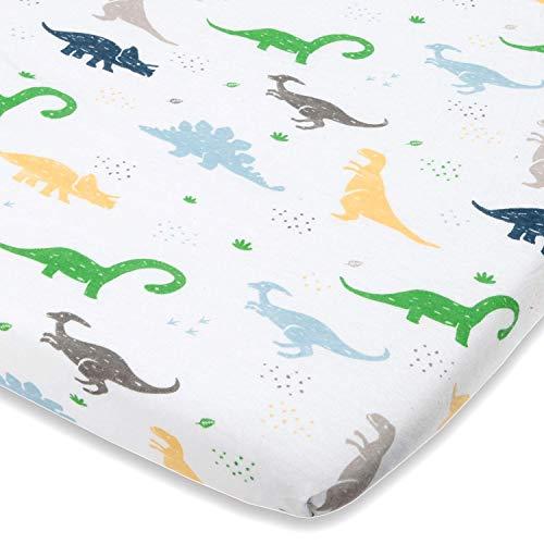 Cuddly Cubs - Sábana para cuna de dinosaurio – Ajuste perfecto para cuna Halo Moisés, Fisher Price, Delta, Graco y otras cuencas ovaladas – Sábana de algodón suave – 1 pieza