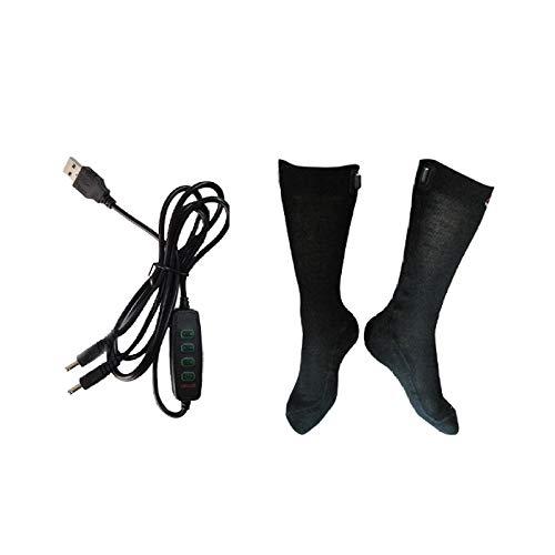 DZX Chaussettes Chauffantes électriques/Chauffe-Pieds avec Câble USB - pour Le Ski en Hiver, Le Camping Et Les Travaux Extérieurs Unisexe,L