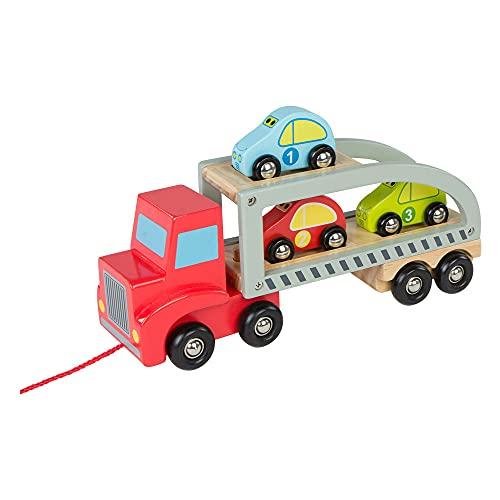 WOOMAX- Camión Remolque 3 Coches de Madera (Colorbaby 43619) , color/modelo surtido