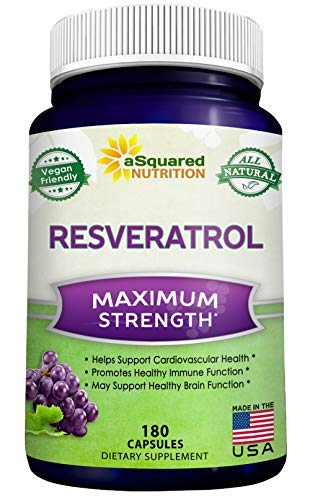 100% Natural Resveratrol - 1000mg Per Serving Max Strength (180 Capsules) Antioxidant Supplement Extract, Trans-Resveratrol Pills for Heart Health & Pure Weight Loss, Trans Resveratrol for Anti-Aging