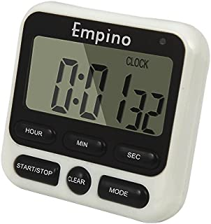 Digital Kitchen Timer - Empino Upgraded 24-Hours Cooking Timer Clock Countdown Multifunction with Big Digits, Loud Alarm, Magnetic Backing Stand, and Memory for Cooking Baking Exercise, White
