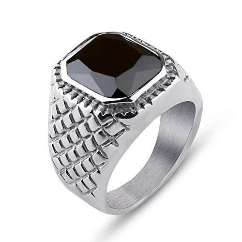Valily Heren Blauwe Kristallen Ring Vintage Rock Punk 316L Roestvrij Staal Zwart Zilver Goud Kleur Hip Hop Ringen Voor Heren Dames