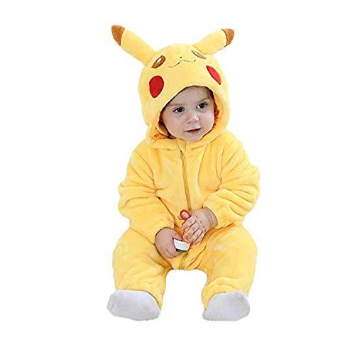 EASYHON Unisex Baby Flannel Romper Animal Onesie Costume Hooded Cartoon Outfit Suit (110(24-30M), Pikachu)
