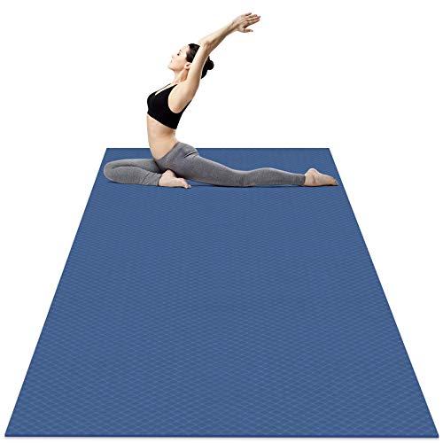 Odoland Tappetino da Yoga Grande 183 x 122 x 0.6cm, Tappeto Fitness 6 mm Spesso di Ecologico TPE, Antiscivolo, Tappetino per Pilates, Yoga, Stretching, Ginnastica a Casa o in Palestra, Blu