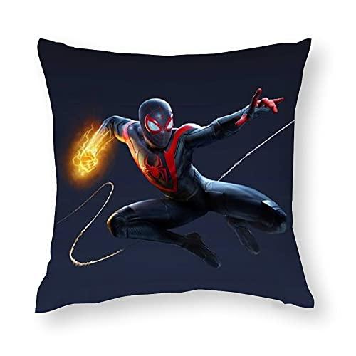 Spider-man Miles-Morales - Fundas de almohada cuadradas, fundas de almohada de algodón y poliéster para decoración del hogar para...