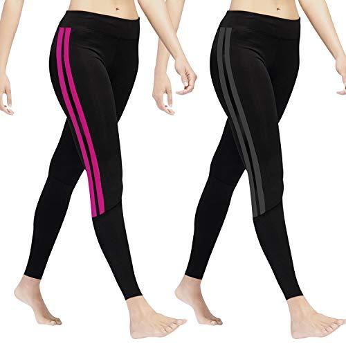 GoVIA GoVIA Leggings Damen Laufhose Luftdurchlässige Trainingshose Sporthose Yogahose Fitness Yoga High Waist Lang Streifen 4138 Pink+Grau S/M