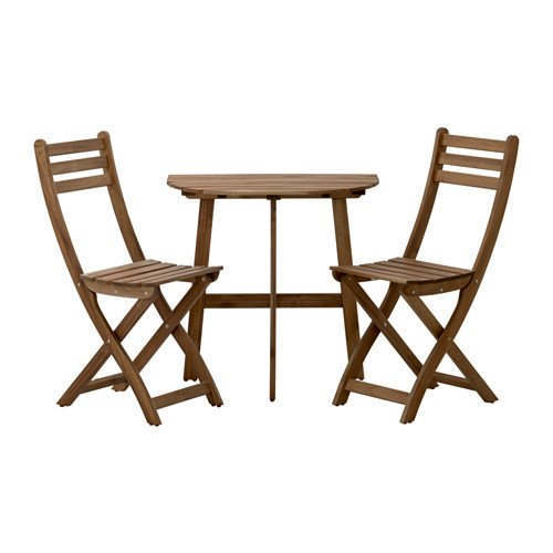 Ikea Sillas askholmen mesa semicircular + 2sillas de madera de acacia maciza, color gris y marrón