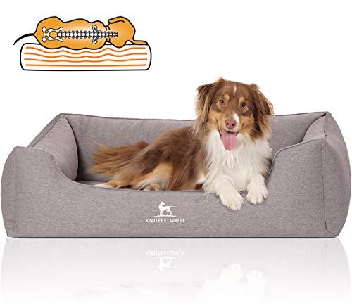 Knuffelwuff Orthopädisches Hundebett XXL Leano Hundekorb Hundesofa Hundekissen Hundekörbchen waschbar Grau 120 x 85cm grosse Hunde