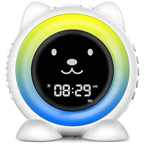 Cat Alarm Clock for Kids ,Time to Wake Sleep Trainer ,Night Light & Wake Up Light , Sleep Sound Machine