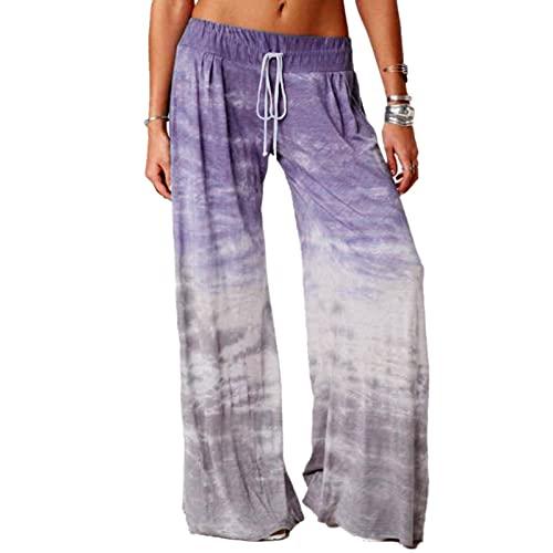 Dasongff Pantalones de verano para mujer, informales, de un solo color, para verano, para correr, para el tiempo libre, de cintura alta, holgados, de tela, pantalones de chándal Palazzo
