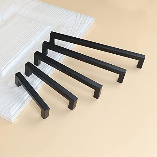 1 Uds., Manija de gabinete negra, herrajes cuadrados para muebles, perillas de puerta de cocina de acero inoxidable, tiradores de cajón de armario, 160x172mm
