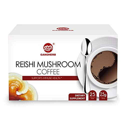 GANOHERB Reishi Mushroom Coffee 2 In 1 Instant Black Coffee-100% Certified Organic Ganodema Spore And Extract-Stress Relief,Dairy Free,Vegan,Paleo,Gluten Free, No Sugar,Focus,0.09 Ounce(25 Count)