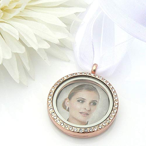 Rose Gold Crystal Picture Frame Bouquet Charm for 2 Photos - Memory Locket - Brides Keepsake