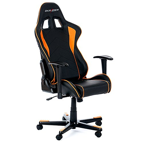 DXRacer Formula Series Gaming Chair - Black/Orange OH/FL08/NO PC Gaming Chair Padded Seat - Sillas para Videojuegos (PC Gaming Chair, 130 kg, Padded Seat, Padded backrest, Aluminium, Metal)