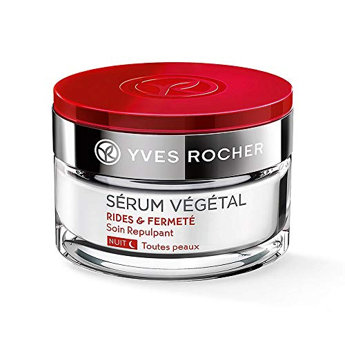 Yves Rocher SÉRUM VÉGÉTAL aufpolsternde Pflege Nacht, straffende Anti-Falten Nachtcreme, für feste Haut, 1 x Glas-Tiegel 50 ml