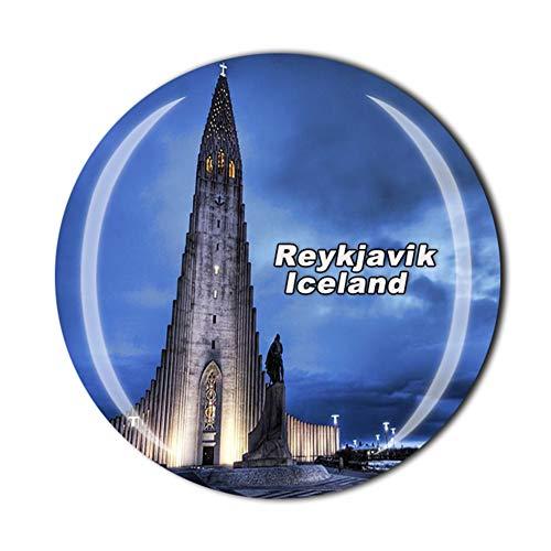 Hallgrimskirkja Iglesia Reikiavik Islandia Imán para nevera de viaje, recuerdo de viaje,...