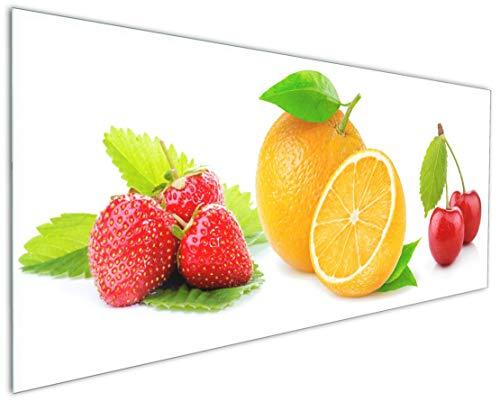 Wallario Küchenrückwand aus Glas, in Premium Qualität, Motiv: Frische rote Erdbeeren für die Küche | Spritzschutz | abwischbar | pflegeleicht