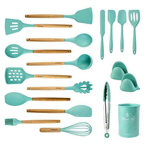 LeMuna 18pcs Silicone Cooking Utensil Set, Non-stick Heat Resistant Kitchen Utensils Set with Holder, BPA Free, Non Toxic Cooking Tools with Wooden Handles
