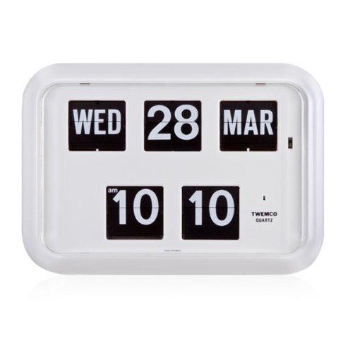 twemco Homeloo German Quartz Retro Modern Calendar Wall Flip Clock QD 35 (White)