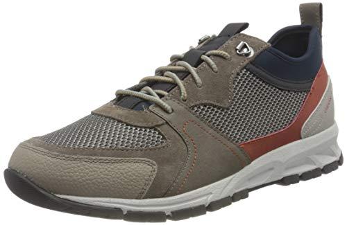 Geox Mens U Delray A Sneaker, Taupe/Navy,44 EU