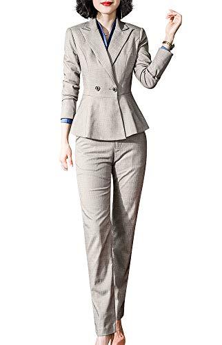 Vrouwen Twee Stuk Blazer Suits Dubbele Knop Vrouwen Zakelijke Suits Ruffle Hem Blazer Jas Broek/Rok Suits