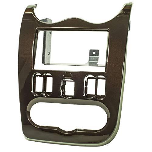 tomzz Audio 2409-010 Doppia lunetta radio din adatta per Dacia Duster, Logan, Sandero, dal 2010-2012, marrone scuro lucido