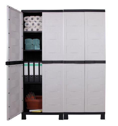 Ondis24 Kunststoffschrank Haushaltschrank Garagenschrank Kellerschrank Prestige sehr günstiges Set aus 2 Stück, schnell aufgebaut
