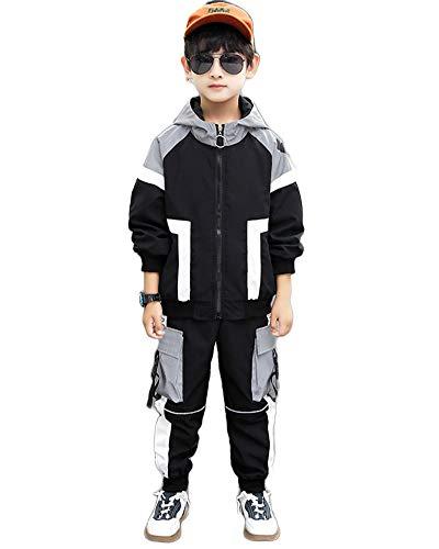 Sportanzug Jungen Trainingsanzug Sweatjacke Und Sweathose Jungen 2-Teilig Anzug Bekleidungsset Jacke Mit Kapuze + Hose Hip Hop Kleidung,Schwarz,170