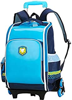European royal style children's rolling backpack Primary School Trolley Bags Waterproof Schoolbag Child with 2/6 Wheels Removable School bags for girls and boys,Blue