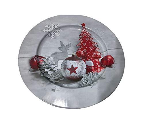 Idena 30179 Teller Weihnachten, Grau/Rot