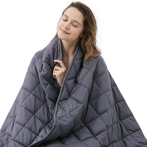 ZZZNEST Manta Ponderada, Alivio del Estrés y la Ansiedad, Sensorial Relajante para Dormir Bien, 100% Algodón con Cuentas de Vidrio Premium (Gris, 152 x 203 cm - 9.5kg)