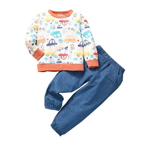 Alunsito Conjunto de ropa con estampado de dibujos animados para niñas pequeñas, camisetas y pantalones de manga larga, 2 piezas, trajes de otoño, naranja, 120, 5-6 años