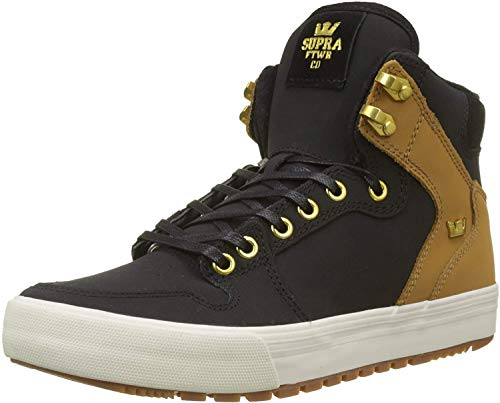 Supra Vaider CW Skate Shoe, Black/TAN-Bone, 9 Regular US